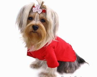 Red Turtleneck Dog Shirt Size XXXS through Medium by Doogie Couture