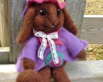 "Needle Felted Rabbit, Chocolate Brown Bunny with Hat and Coat, Alpaca Fiber, ""Ditter"""