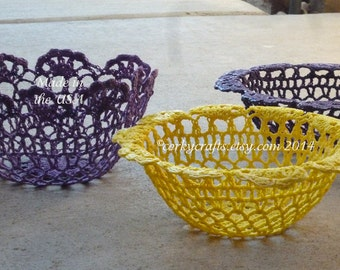 Crochet doily candy bowl, crochet basket,  purple yellow green great Mardi Gras table decor!