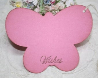 Baby Shower Wish Tree Tags - Bright Pink Butterflies -  Birthday Wish Tags - Set of 12
