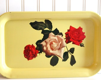 Yellow Tin Serving Tray with Red and Pink Roses