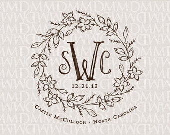 Storybook Fairy tale Floral Wreath Wedding Monogram - Wedding Logo - Wedding Crest - Fairy Tale Wedding