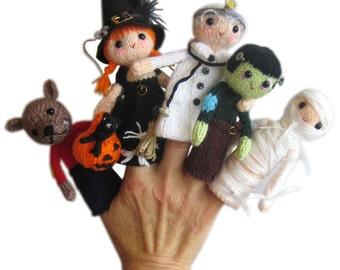 My Favourite Monsters Halloween Finger Puppets PDF Emil Knit PATTERN