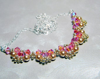 """Rose Gold Swarovski Crystal and Pearl Lace Sterling Silver - """"Edwardian Lace - Romance"""""""