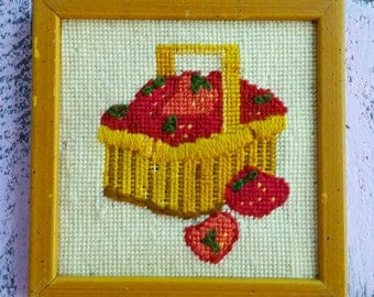 Vintage Needlepoint Strawberry Basket in Frame