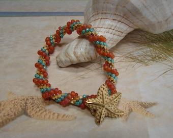 Starfish and Loop Seed Bead Spiral Crochet Bracelet