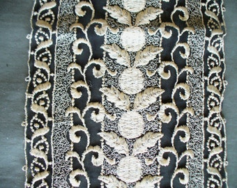 Antique Lace, Vintage Lace, Black and gold silk