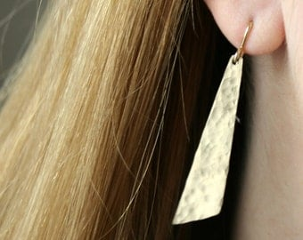 Gold Filled Hammered Angular Earrings