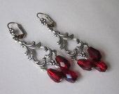 Victorian Chandelier Earrings Red Faceted Czech Glass Crystal Teardrops Antiqued Silver Crimson Red Beaded Earrings