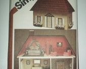 DOLL HOUSE sewing pattern, Furnishings, two story house, Simplicity 9821 uncut factory folded sewing pattern printed 1980