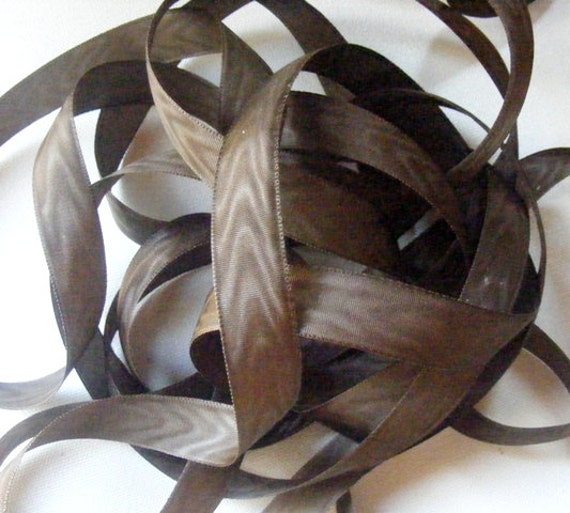 Vintage 40's French Rayon Moire Ribbon 11/16 inch -Milliners Stock- Chocolate Brown