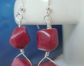 FREE SHIPPING Red Stone Dyed Jade Sterling Silver Wire Wrap Earrings
