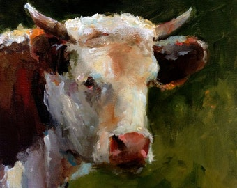 Cow Painting Print - A Short Rest - Paper Giclee Reproduction by Cari Humphry