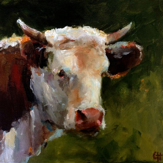 Cow Painting Print A Short Rest Canvas Or By ArtPaperGarden
