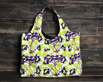 Tote Bag Extra Large - Eggplant Floral