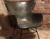 The Iconic Fiberglass Wingback by Lawrence Peabody for Selig in the perfect shade of Charcoal