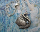 Antiqued Silver Swan Necklace On Sterling Chain