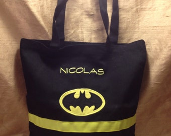 Personalized Batman tote bag with cape
