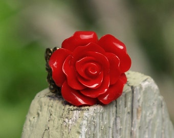 Rocket Red Rose Ring. Adjustable Ring. Statement Ring.