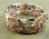 Flower Power - Lavender Millefiori Glass Chip Memory Wire Bracelet
