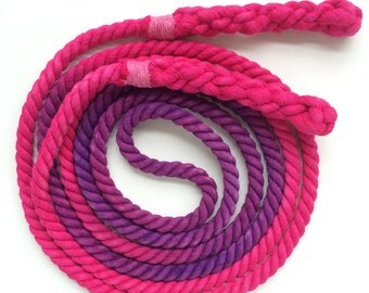 Single Jump Rope Skipping Rope, Hand-Spliced and Dyed, Fuchsia & Purple