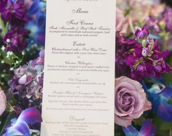 Classic Ivory and Black Menu Card