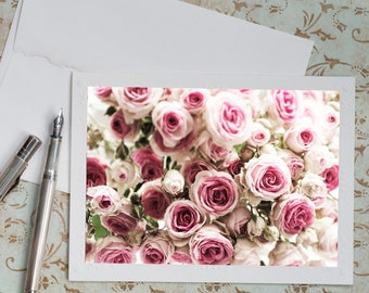 Paris Photography Notecard - Winter Roses Note Card, Floral Photo Notecard, Stationery, Blank Notecard