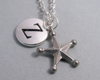 Star with Points Necklace, Star Charm, Star Keychain, Silver Plated Charm, Engraved, Personalized, Monogram