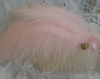 Handmade 1920s 1930s Style Pink Feather Haircomb One Size Fits All Exec Cond Bridal Wedding Each Unique One of a Kind
