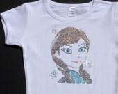 2T 3T 4T 5T 6 8 10 12 Frozen Anna rhinestone Disney white shirt