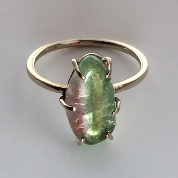 A Small Slice of Heaven, Ladies Watermelon Tourmaline 14k Gold Ring, Handmade in Maine