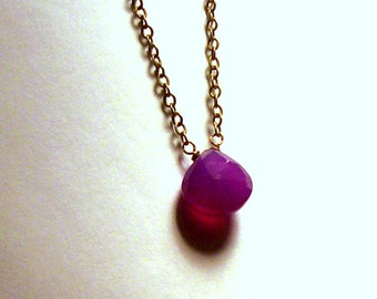 Simple Elegance - Delicate Purple Chalcedony Briolette Necklace in Antique brass