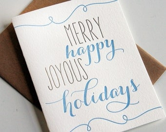 Letterpress Holiday Card Letterpress Christmas Cards  - Happy Joy Holiday