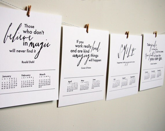 2014 Letterpress Wall Calendar - Inspirational Quotes.