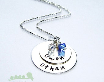 Silver charm necklace - Personalized necklace - Hand stamped mother necklace - Personalized name charm