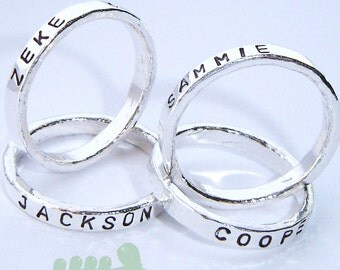 Stamped rings - Stacked rings - Date stamped bands - Name rings - Personalized bands