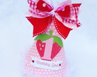 Sparkly Strawberry Birthday Party Hat in Pink Red and White Polka Dot and Gingham