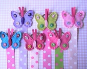 Butterfly Hair Bow Holder Hair clip holder Barrette holder with Polka Dot Ribbon
