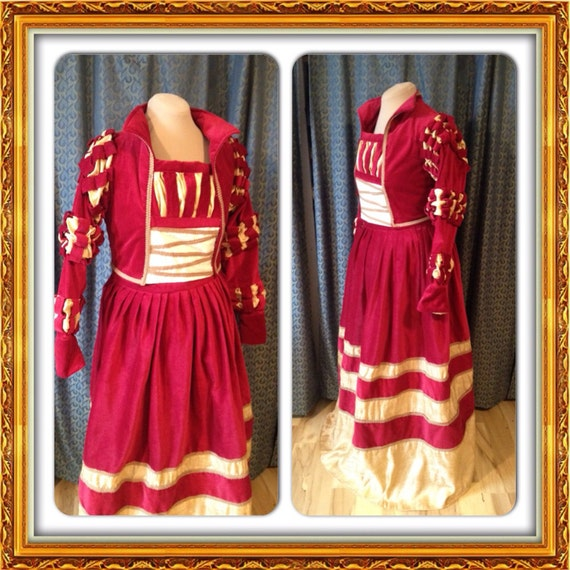CUSTOM RESERVED Cranach Renaissance Italian Borgias Ever After dress costume in burgandy velveteen and gold silk 2 of 2 payments