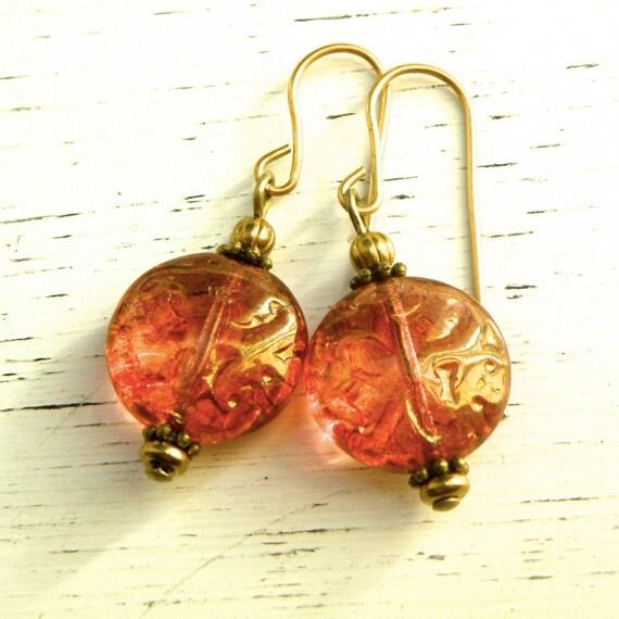 Pink gold Czech glass earrings, coin bead earrings, brass details, Pink bronze earrings, glass and brass  earrings