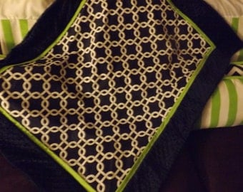 Baby blanket Lime and navy  minky dot