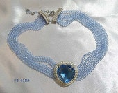 FREE SHIP Vintage Rhinestone Blue Heart Five Strand Necklace (4-4185)