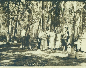 Big Happy Family in the Woods Summer Picnic Eating Men Women Kids RPPC Real Photo Postcard Antique Vintage Black White Photo Photograph