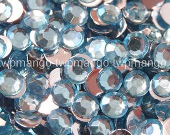 1000 5mm Acrylic Round Crystal Rhinestones Flat Back SS20 N70-19 Aquamarine