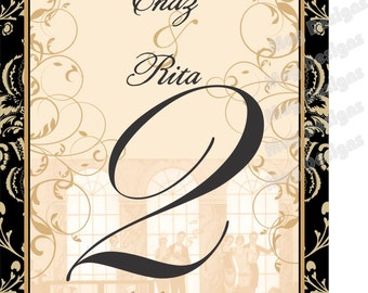 Table Number Wine Labels for Weddings - Old Hollywood Table Numbers -  Anniversary Table Number Labels - Hollywood Gatsby - 10