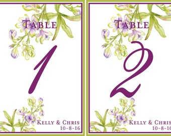 Wine Label Table Numbers - Orchids - Wine Bottle Labels - Customizable for Wedding Table Numbers -10