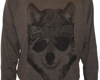 Party WOLF American Made Raglan Slouchy Sweatshirt Pullover  S M or L