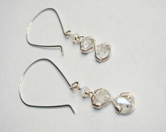 Infinity Earrings Herkimer Diamond Earrings Infinity Herkimer Diamond and Moonstone in Sterling Silver Silver Jewelry