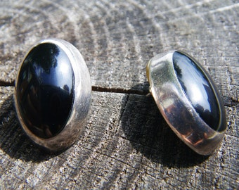 Large Sterling Onyx Earrings - vintage Mexico Sterling - TC-152