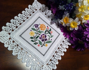 Pretty Flowers cross stitched doily